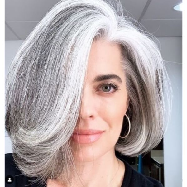 Grombre Medium Hairstyles For Older Women With Swoopy Layers