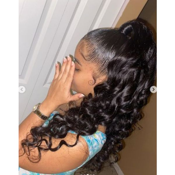 Half Up Half Down Ponytail Hairstyles For Black Hair