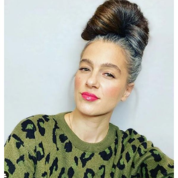 High Spread Updo With Siliver Gray Roots