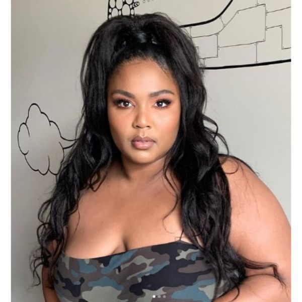 High Wavy Ponytail Lizzo Hairstyle For Black Hair