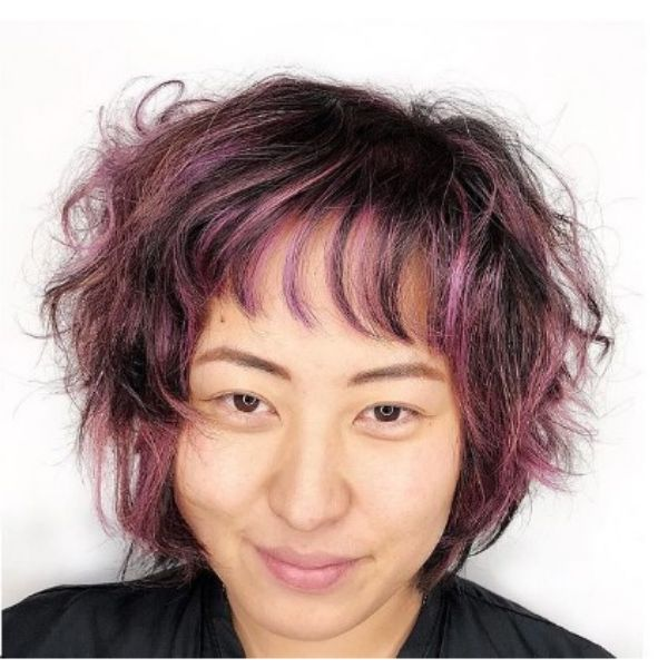 Lavender Colored Curly With Thin Fringe