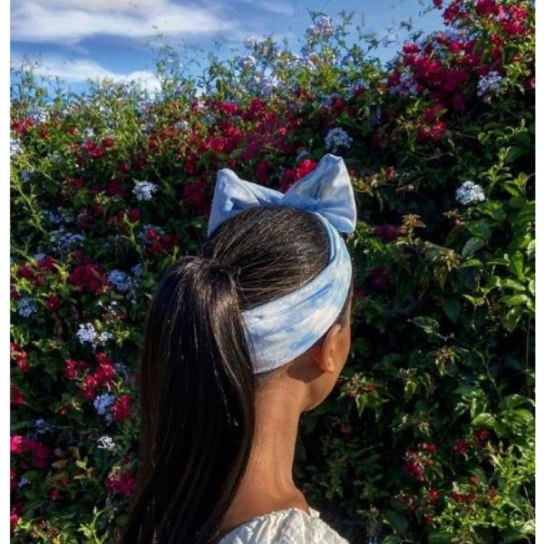 Low Ponytail With Blue Headscarf Hairstyle For Black Hair