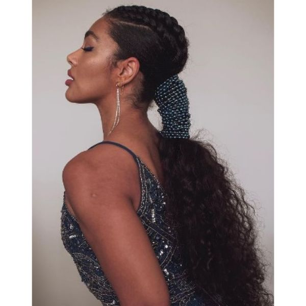 Low Ponytail With Sparkling Headband And Rope Braided Top