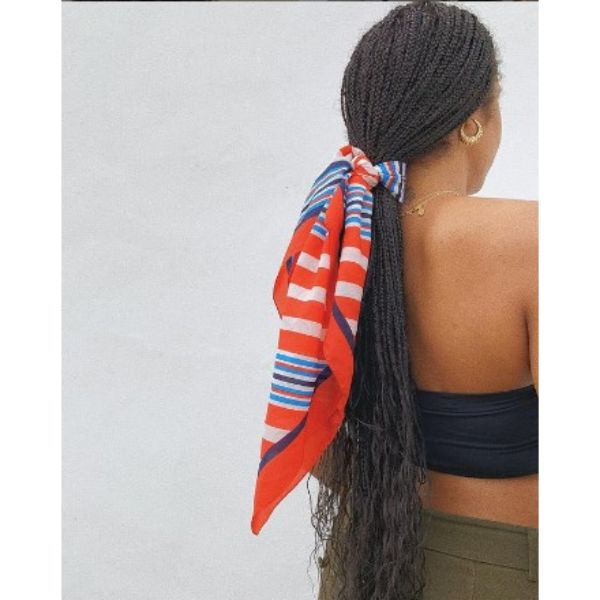 Low Ponytail With Thin Braids Hairstyles For Black Hair With Hair Scarf