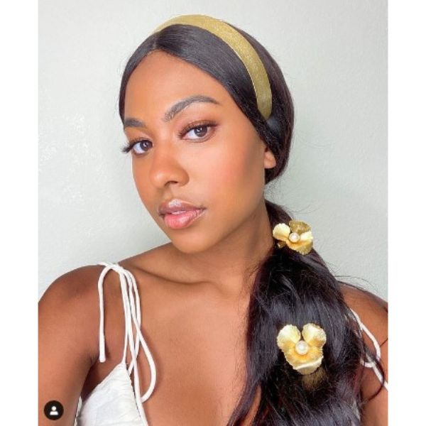 Low Side Ponytail With Golden Floral Accessories