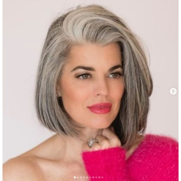 Medium Long Bob With Side-swept Top Hairstyle For Older Women