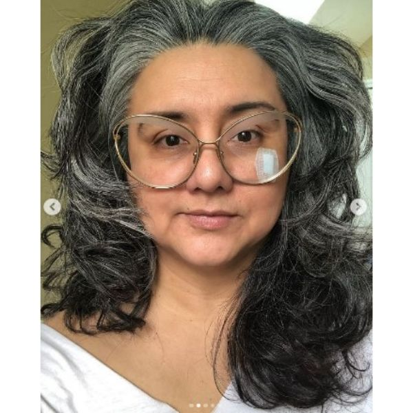 Medium Long Silver Gray Hairstyle With Messy Curls