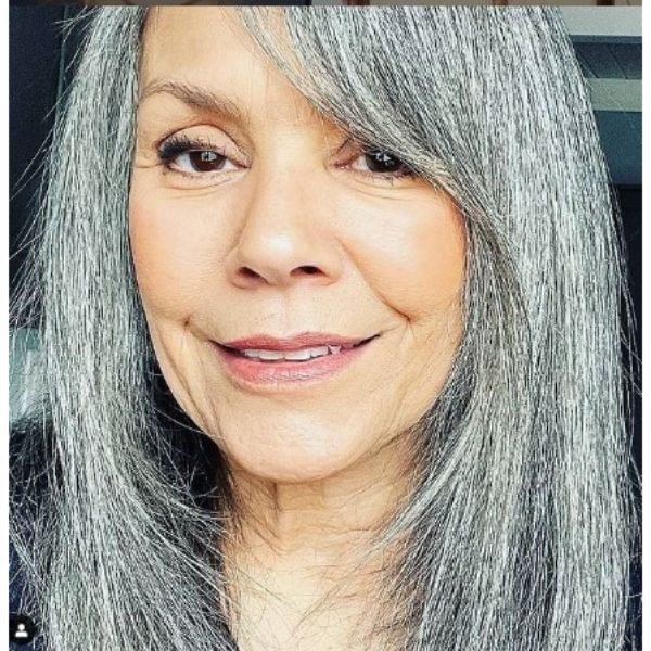 Medium U-layered Hairstyle With Silver Grey Strands
