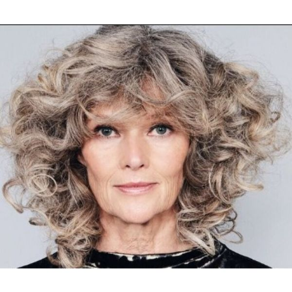 Messy Curly Silver Gray Shag For Older Women