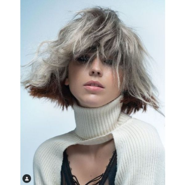 Messy Futuristic Two-Colored Curly Bob With Heavy Fringe