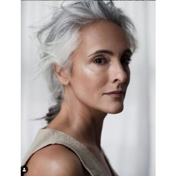 Messy Low Ponytail For Silver Gray Hair