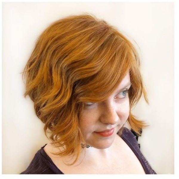 Natural Copper Red A-line Bob With Wavy Curls