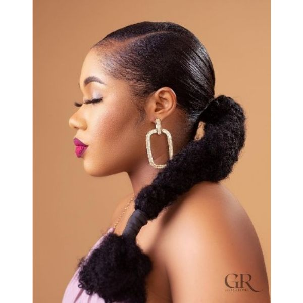 Natural Pony Puff Hairstyle For Black Hair
