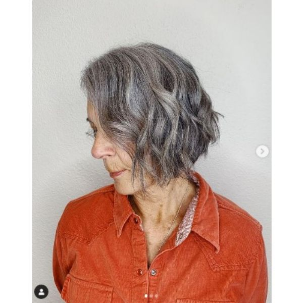 Natural Silver Curly Bob Hairstyle