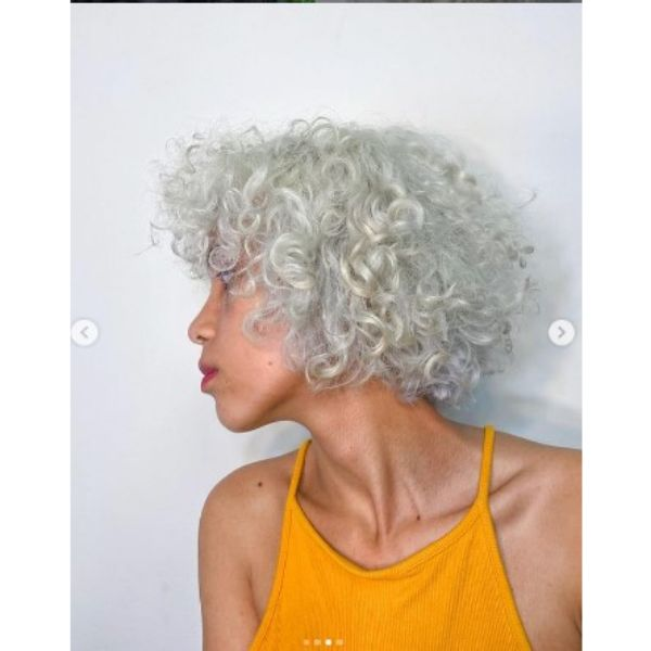 Nordic Ice Blonde Curly Bob With Curly Bangs