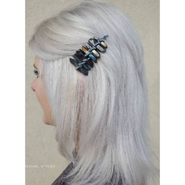 Platinum Blonde Feathered Hairstyles For Older Women With Hair Accessory