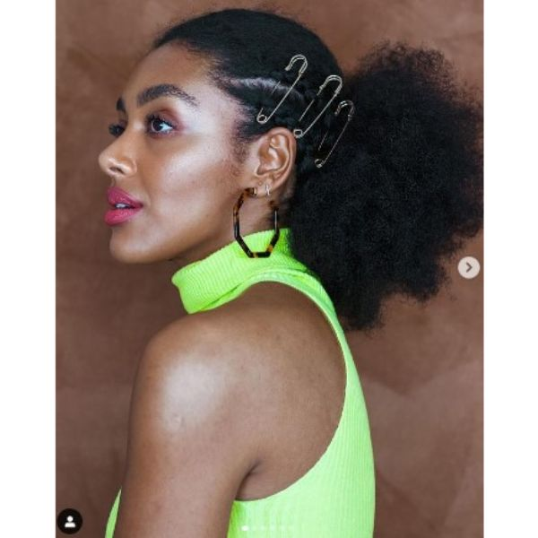 Puffy Ponytail Hairstyles With Braided Cornorows And Safety Pins Hairstyles