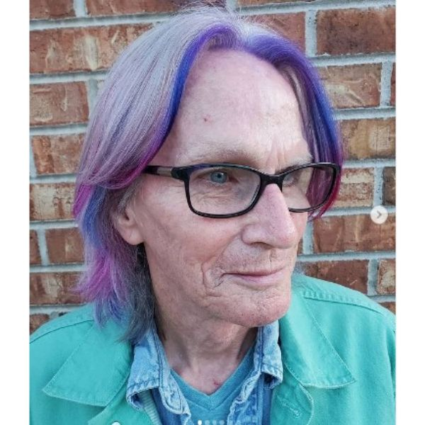 Rainbow Colored Medium Hairstyle With Subtle Layers For Older Women