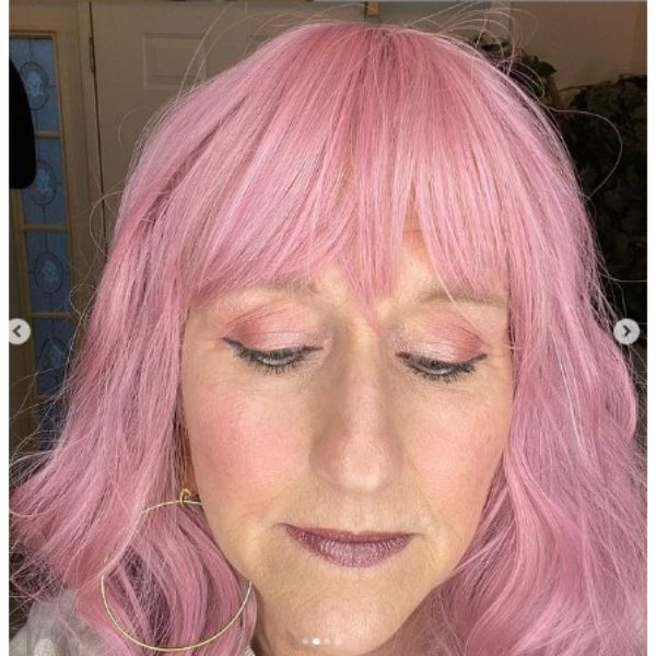 Rose Pink Medium Hairstyle With Straight Bangs