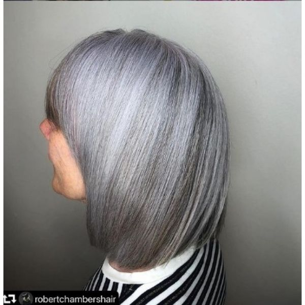SharpTextured Bob With Silver Highlights