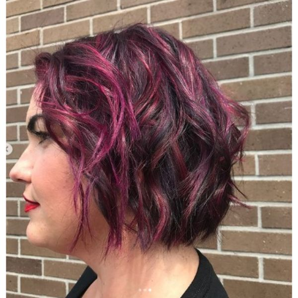 Short Blunt Curly Bob With Thin Pink Highlights