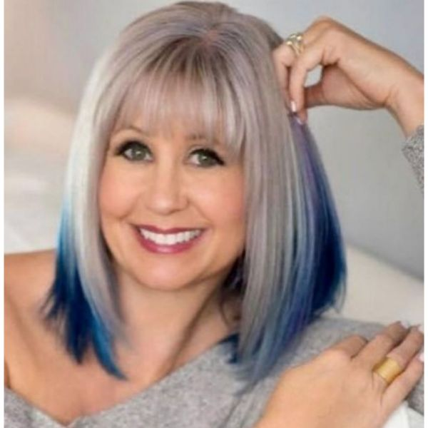 Silver Blonde Lob With Blue Highlights Hairstyle
