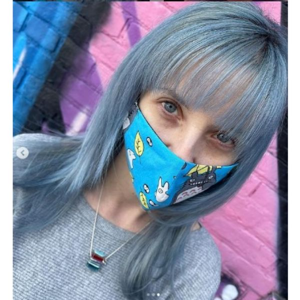 Silver Blue Medium Hairstyle With Straight Bangs