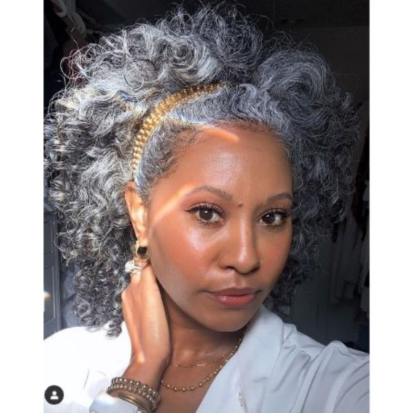 Silver Gray Afro Hairstyle With Golden Headband