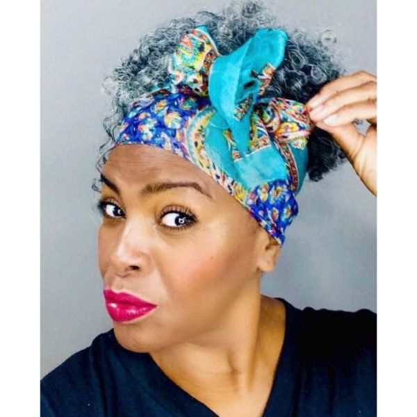 Silver Gray Curly Bun Hairstyles With Colorful Headscarf