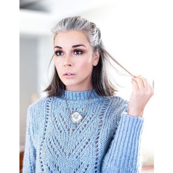 Silver Gray Half Ponytail Hairstyle For Older Women