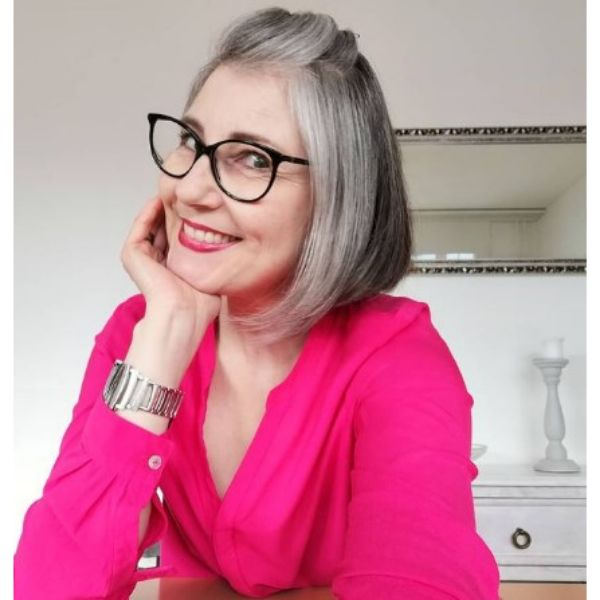 Silver Gray Half Updo For Medium Bob Hairstyle For Older Women
