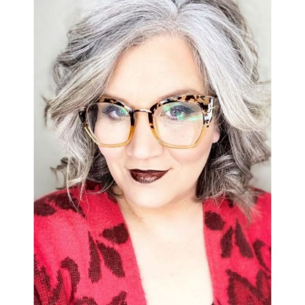 Silver Gray Medium Hairstyle For Older Women
