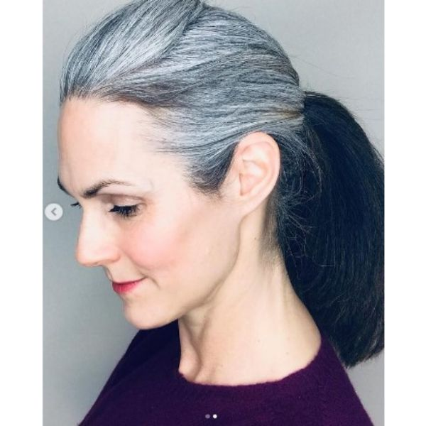 Silver Gray Ponytail Medium Hairstyle For Older Women