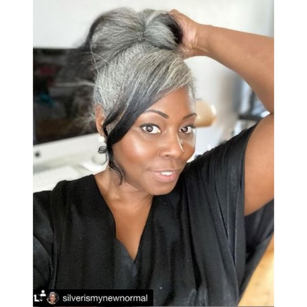 Silver Gray Ribbon Bun Hairstyle With Curly Strands
