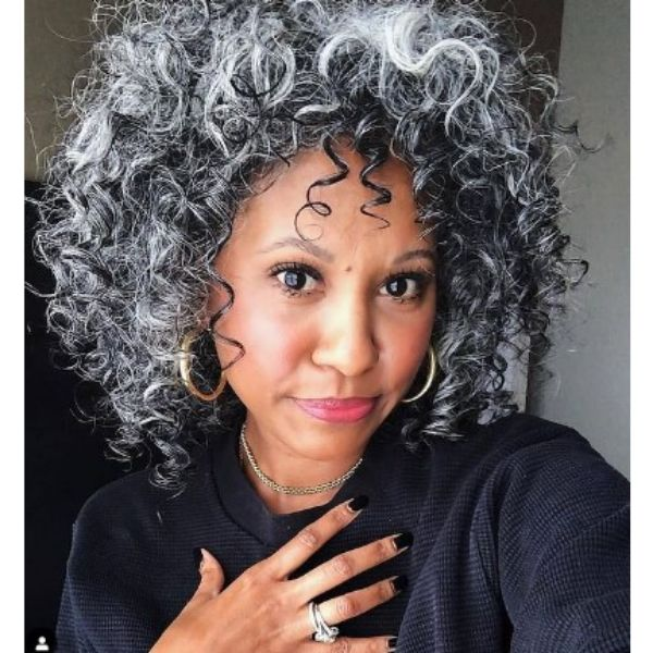 Silver Grey Curly Perm Medium Hairstyle For Older Women
