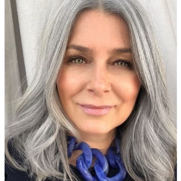 Silver Grey Medium Long Hairstyles For Older Women With Low Waves