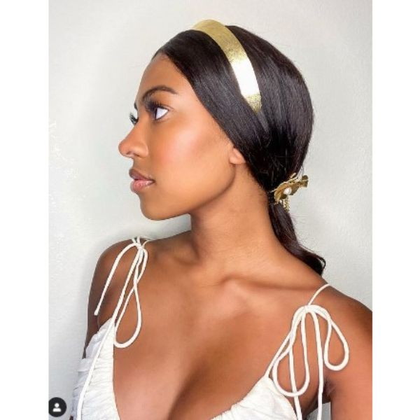 Sleek Low Ponytail With Golden Headband Hairstyles For Black Hair