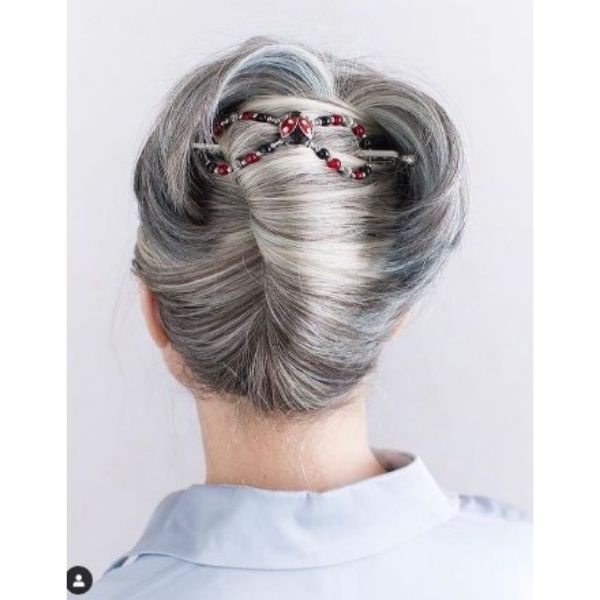 Sleek Silver Gray Updo With Embeded Hair Accessory