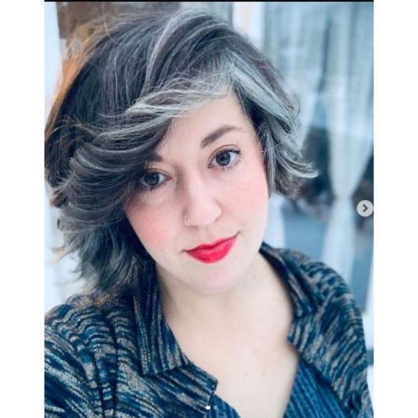 Soft Curly Bob With Silver Gray Highlights