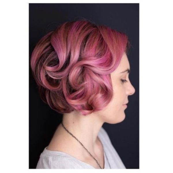 Soft Pink Glamorous Curly Bob Hairstyle