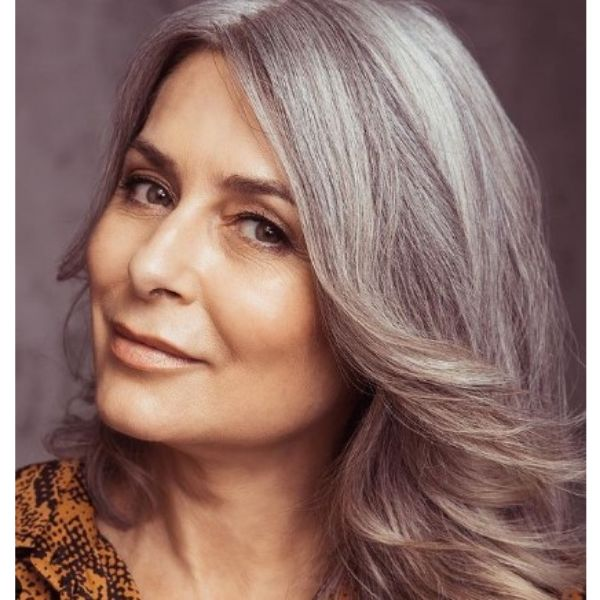 Soft Waves For Medium Long Hairstyle For Silver Gray Straight Hair