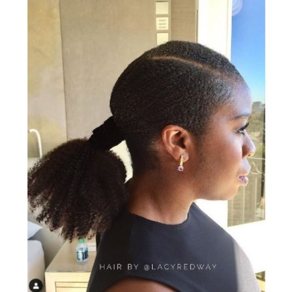 Stick Straight Ponytail With Tight Wrapper Hairstyles For Black Hair