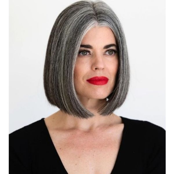 Straight Bob With Middle Part For Grombre Hair
