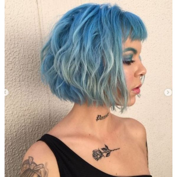 Teal Blue Curly Bob With Baby Bangs