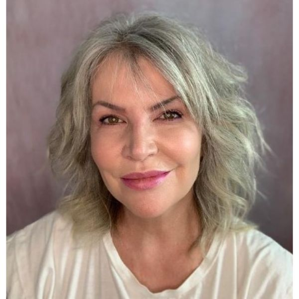 Teased Wavy Hairstyle For Silver White Hair