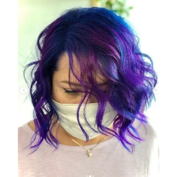Textured Curly Bob With Violet Blue Higlights