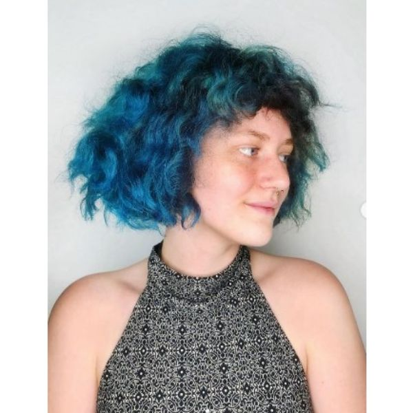 Triangular Shaped  Bob With Green Blue Colors