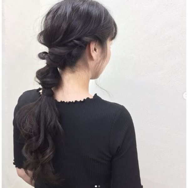 Twisted Low Ponytail Hairstyles For Black Hair
