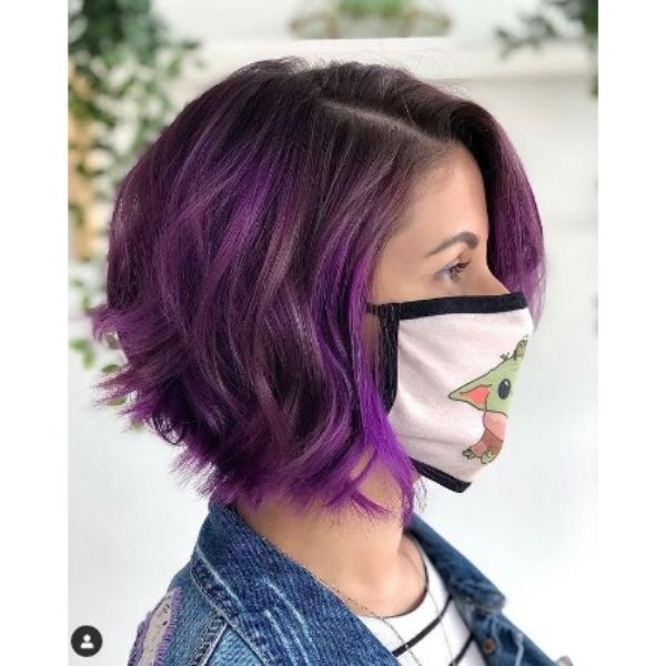 Violet Colored Textured Bob With Side Part
