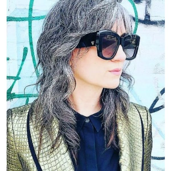 Wavy Medium Shag Hairstyles For Older Women With Silver Gray Strands